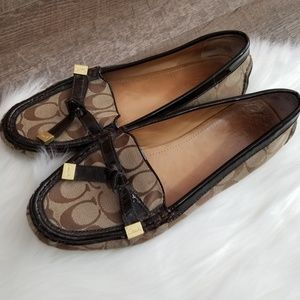 Coach Frida Loafer Flats Logo Canvas Leather